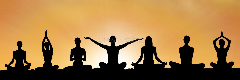 yoga group silhouette at sunset stock illustration