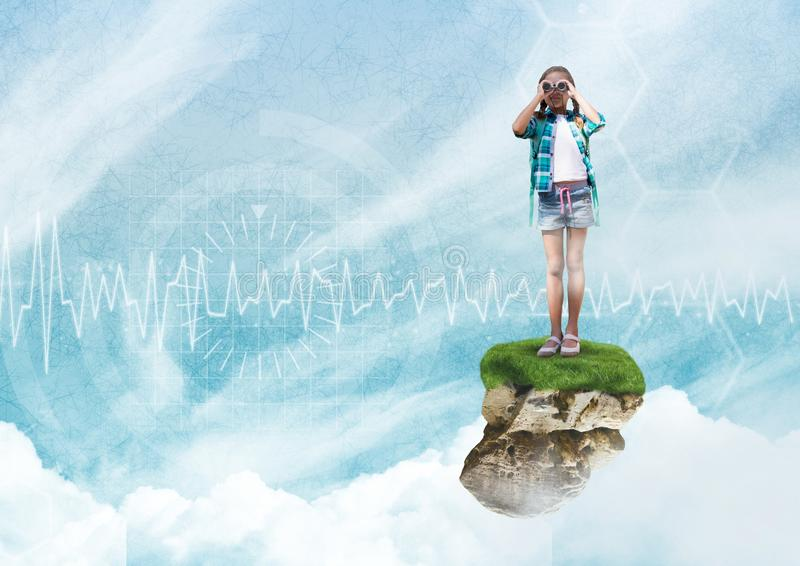 Young Girl on floating rock platform in sky with binoculars with interface. Digital composite of Young Girl on floating rock platform in sky with binoculars with stock photo