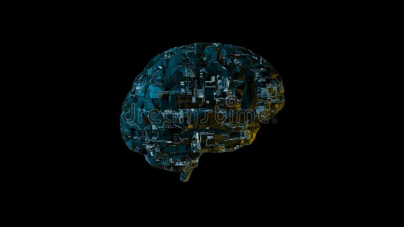 Digital computer brain with blue biomech circuitry texture royalty free illustration