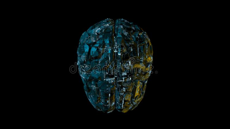 Digital computer brain with blue circuitry texture royalty free illustration