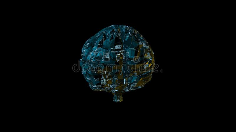 Digital computer brain with blue circuitry texture vector illustration