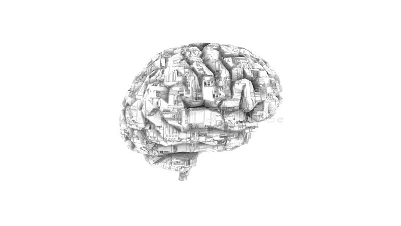 Digital computer brain with circuit texture in black and white stock illustration