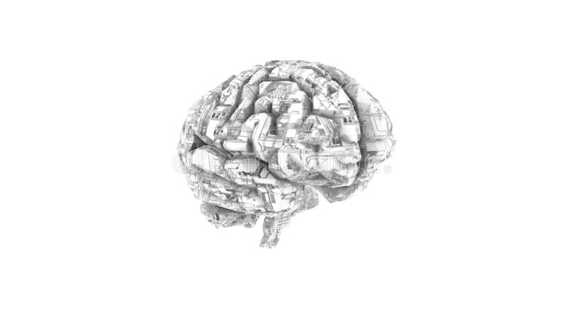 Digital computer brain with circuit texture royalty free illustration