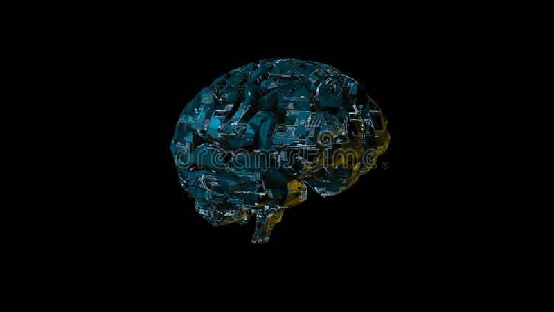 Digital computer brain with glowing blue circuitry texture royalty free illustration
