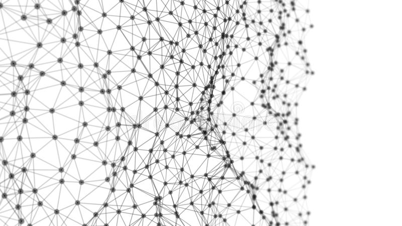 Digital computer data and network connection triangle lines and dots in futuristic technology concept background. Abstract graphic. Design illustration royalty free illustration