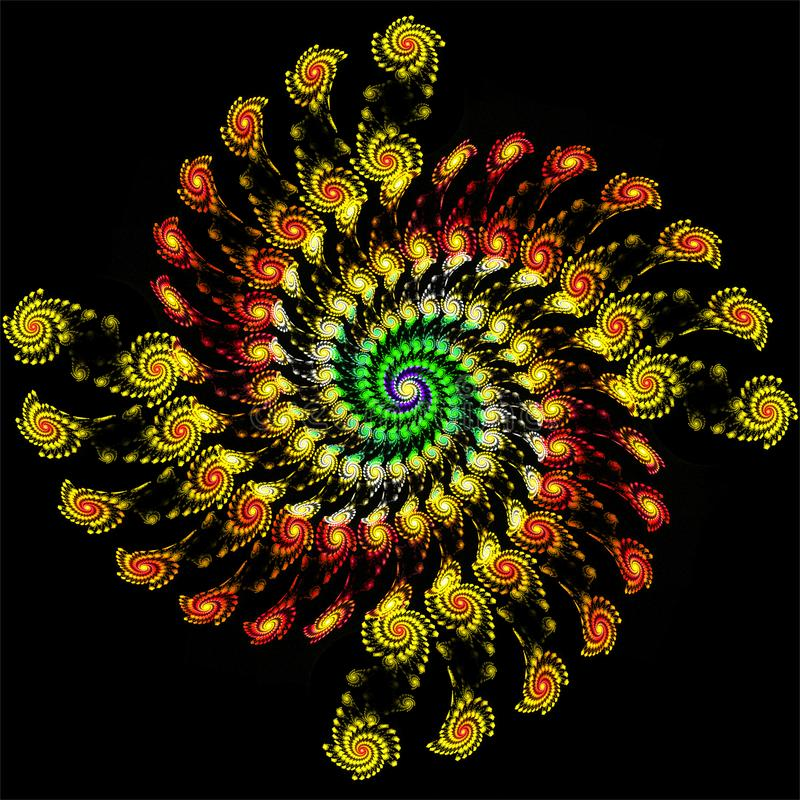 Digital computer fractal art abstract fractals colorful spiral of spirals royalty free illustration