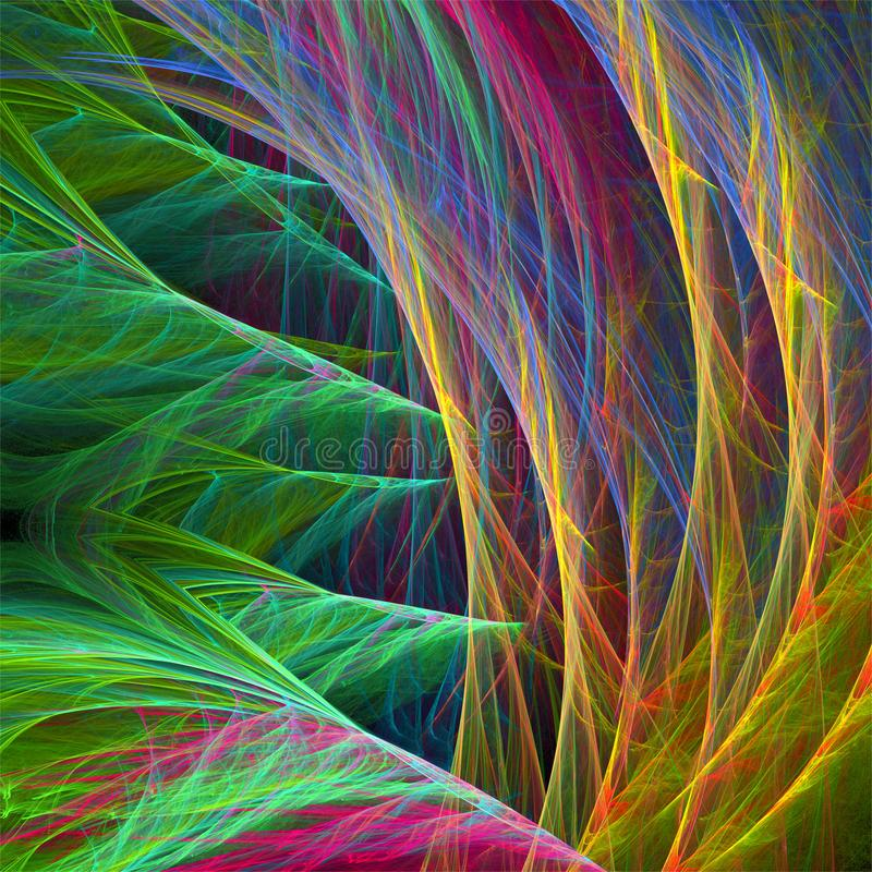 Digital computer fractal art abstract fractals wild grass threads royalty free illustration