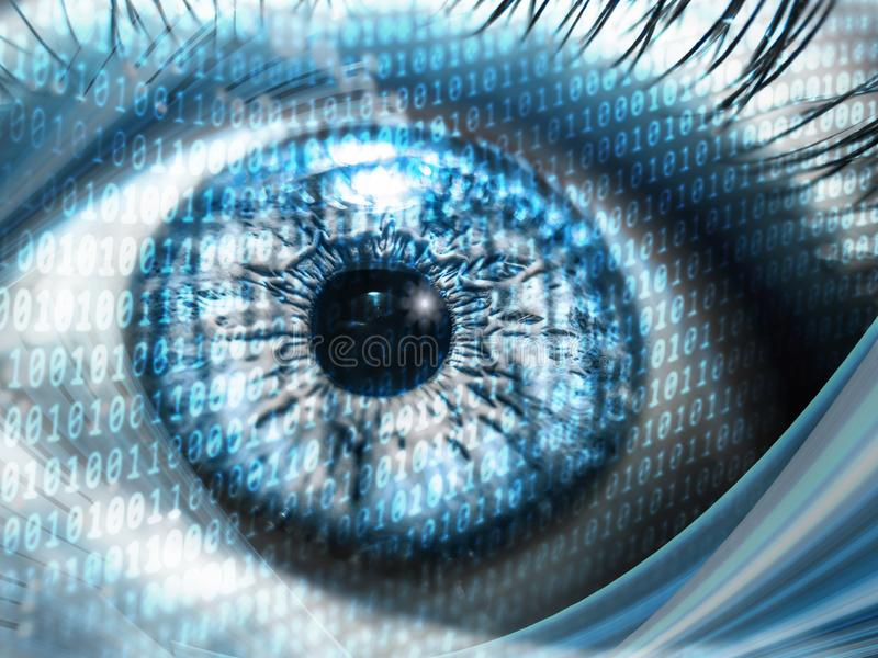 Digital concept with binary numbers on close-up pupil for speed internet and data usage.  stock photography