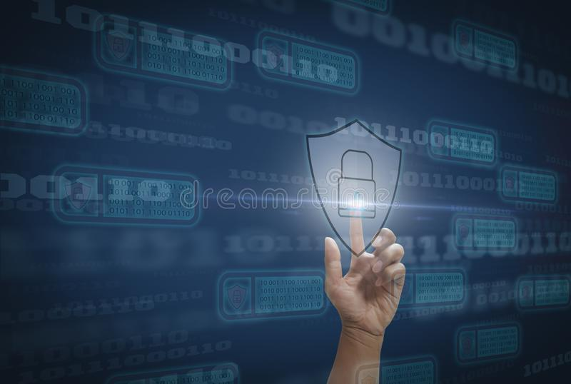 Digital concept cyber security and computer crime and prevention of Internet-based attacks with block chain technology, with stock image
