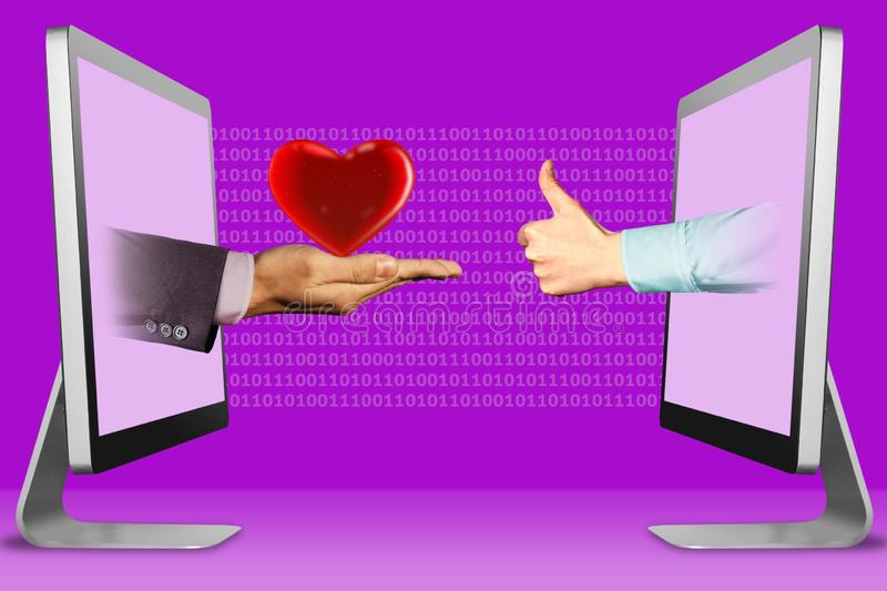 Digital concept, two hands from displays. heart and thumbs up, like. 3d illustration stock illustration