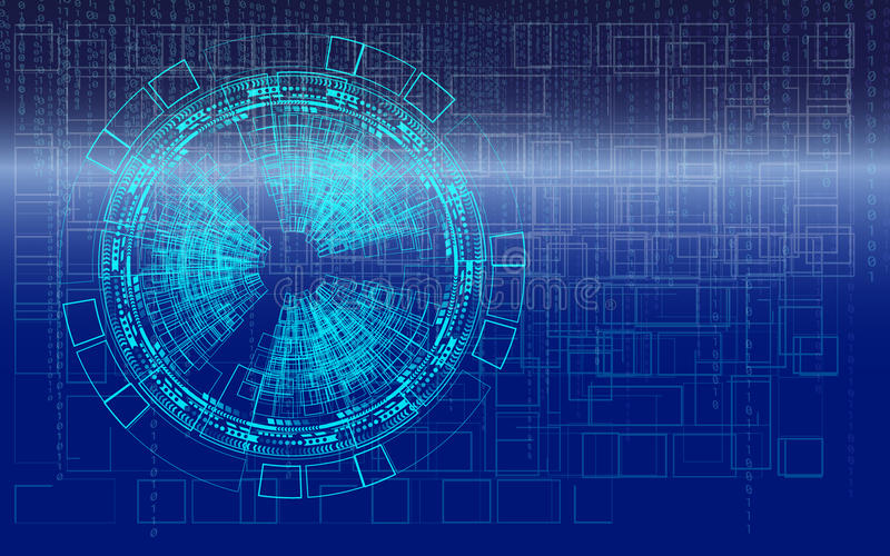 Digital conceptual technology background blue binary code royalty free illustration