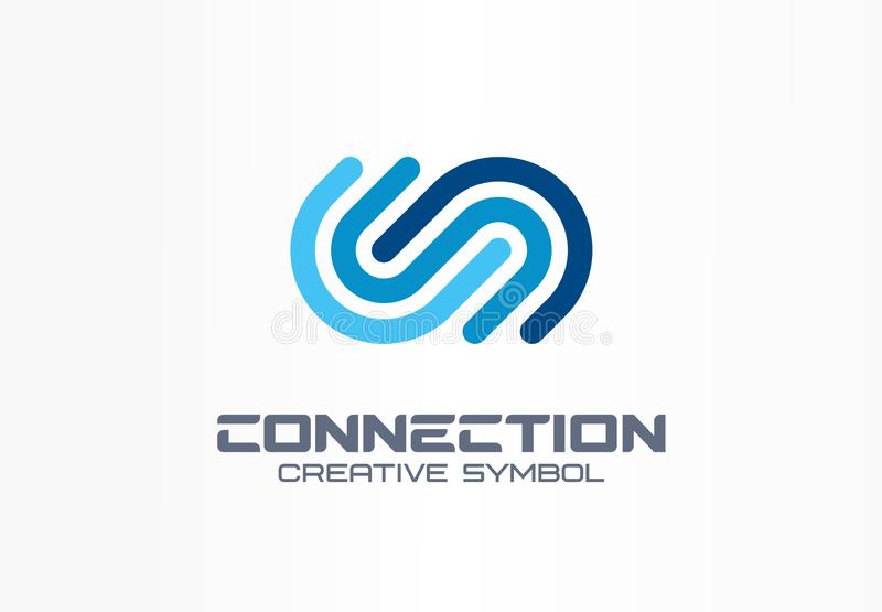 Digital connect creative symbol concept. Community join, integration, web network abstract business logo. Internet. Technology, communication icon. Corporate stock illustration