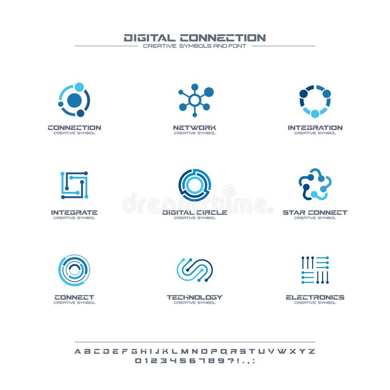 Free Digital Connect Creative Symbols Set, Font Concept. Social Media Network Abstract Business Logo. Internet Technology Stock Images - 137071374