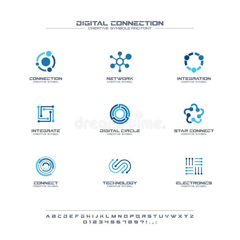 Digital connect creative symbols set, font concept. Social media network abstract business logo. Internet technology royalty free illustration