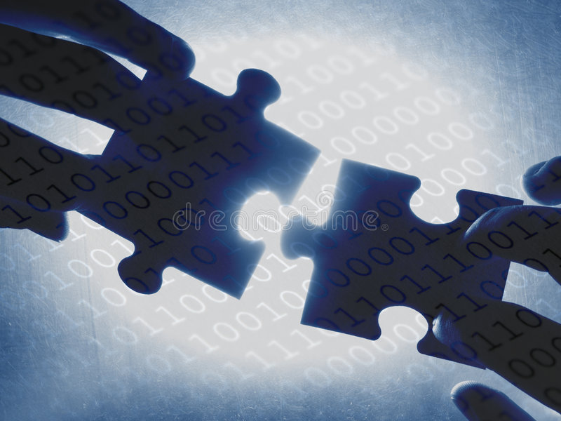 Digital contact. Hands trying to fit two puzzle pieces together, on a binary code background