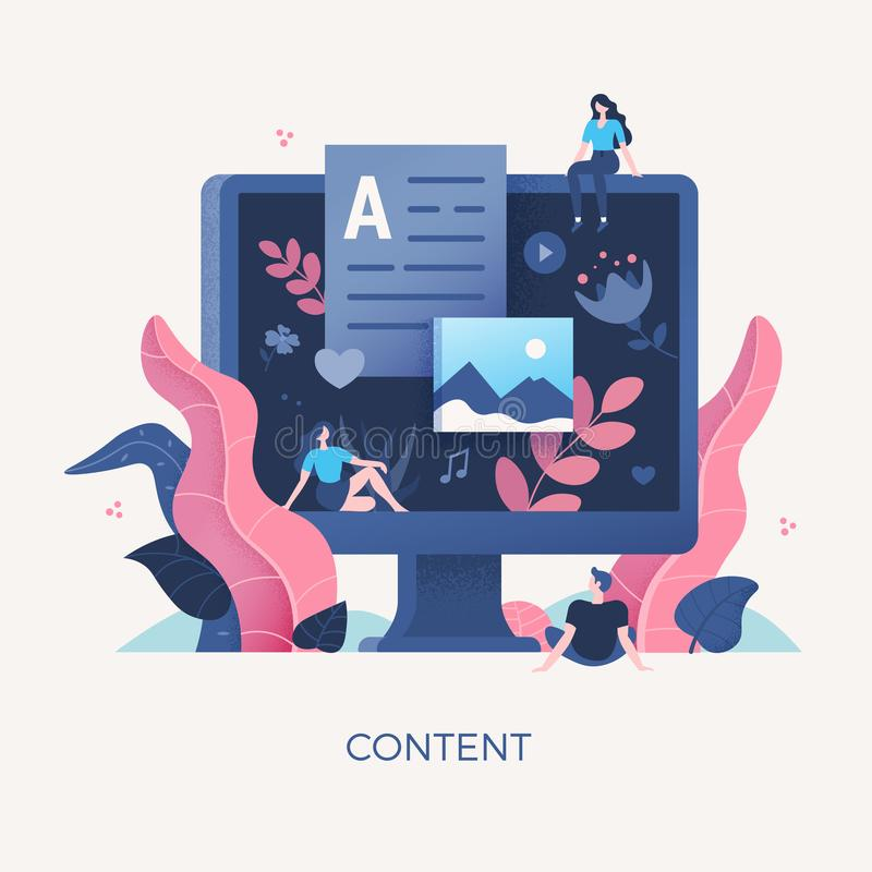 Digital Content Concept Illustration stock illustration
