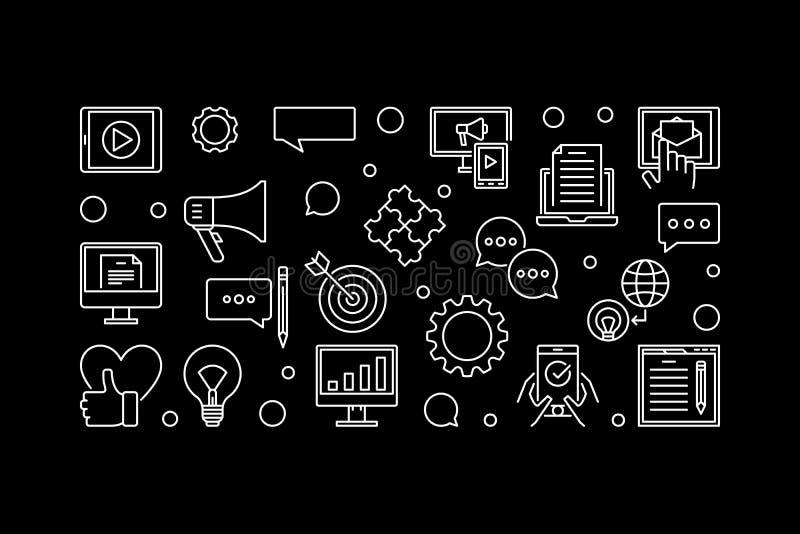 Digital Content linear vector black horizontal banner stock illustration