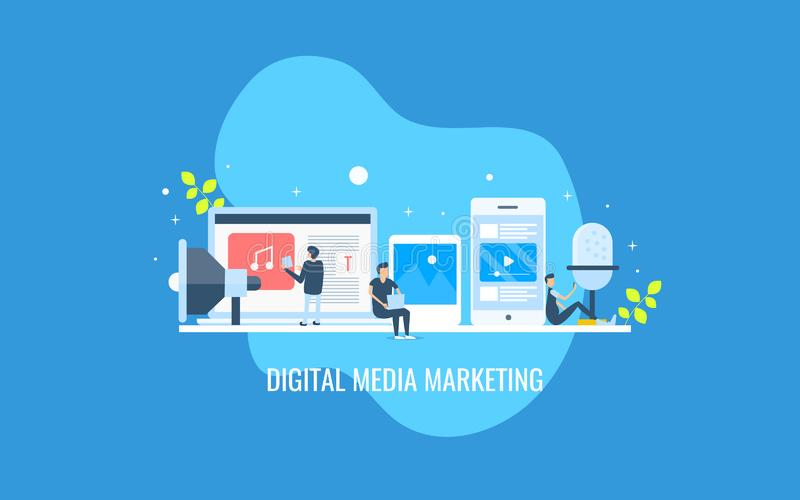Digital media marketing, people engaged with digital content, video, podcast, mobile advertising concept. Flat design banner. vector illustration