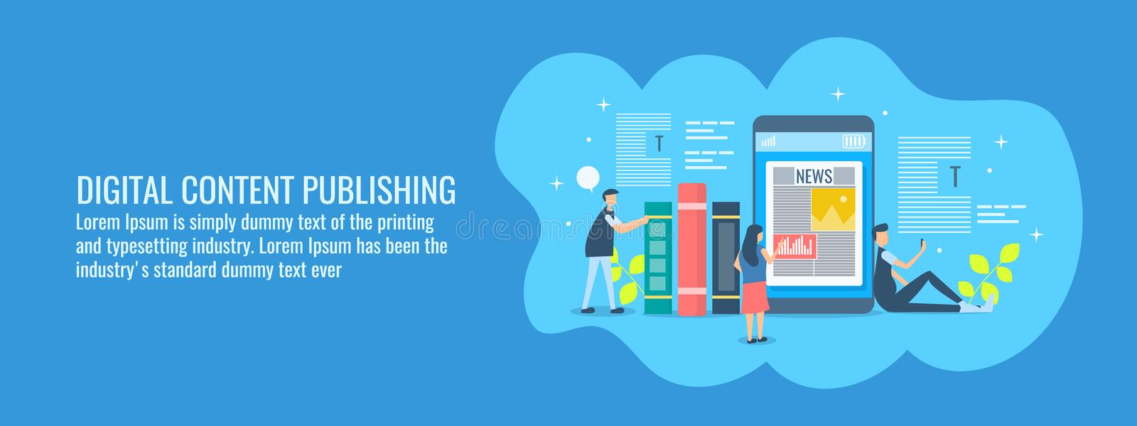 Digital content publishing, people engage with online test, video, image content, reading ebooks on smart phones. Flat banner. stock illustration