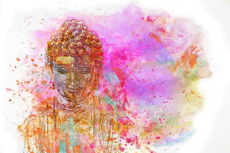 Colorful Digital Painting With Buddha stock illustration
