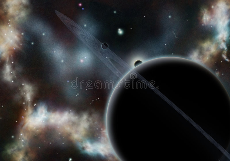 Digital created starfield with cosmic Nebula. And planet with rings royalty free stock photos