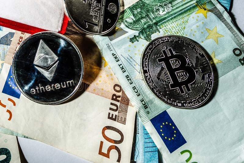 Digital cryptocurrencys bitcoin ethereum stock images