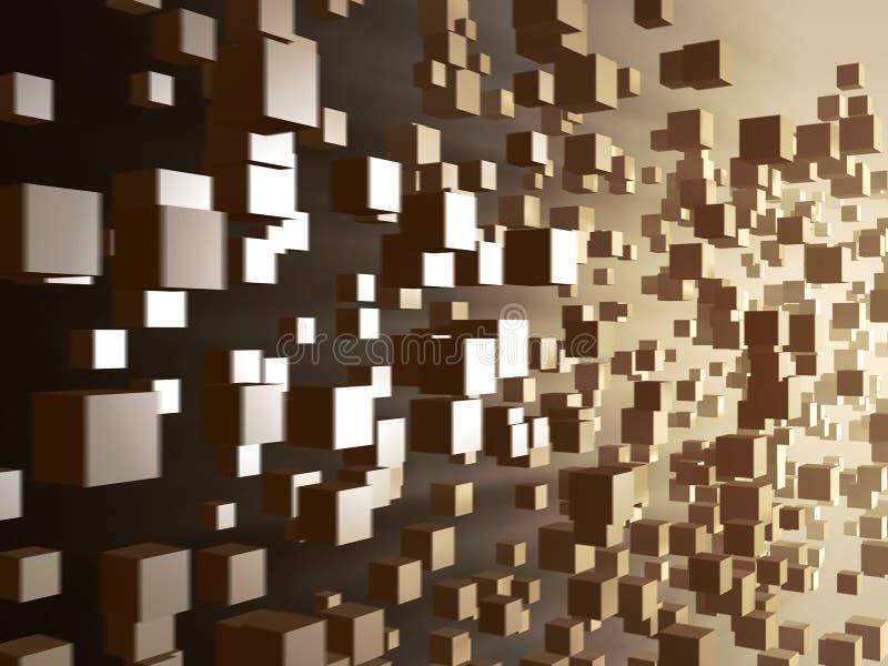 Digital cube flow. 3D illustration vector illustration