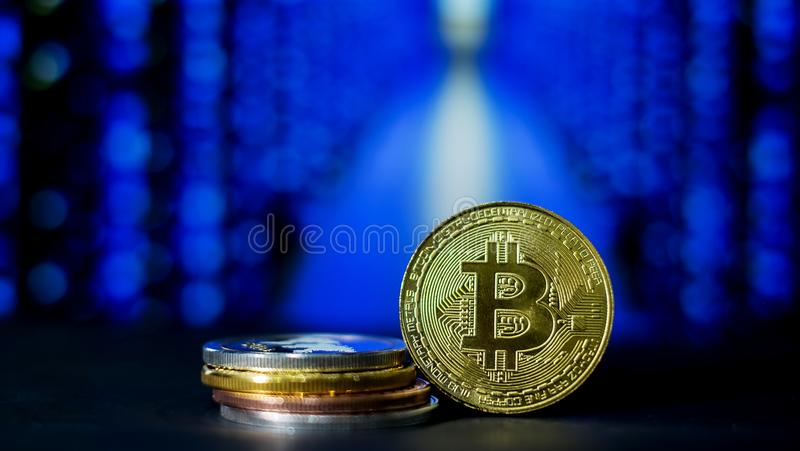 Cryptocurrency; the digital currency mining royalty free stock photo