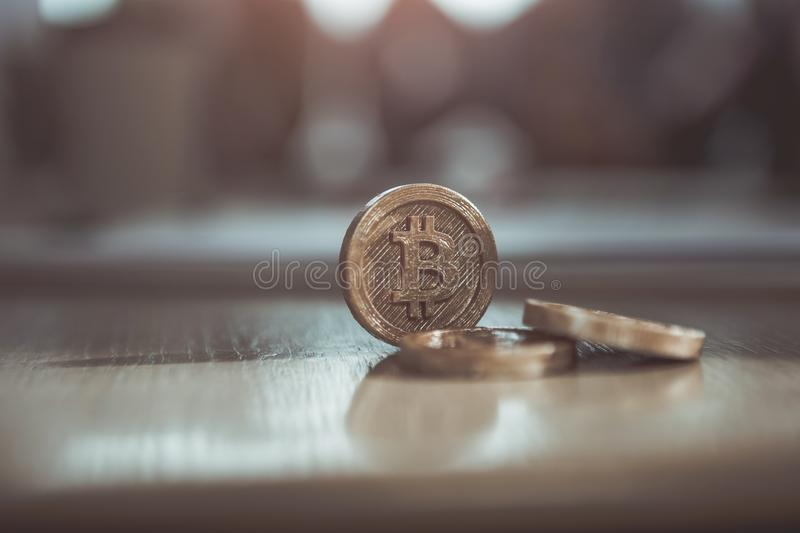 Crypto coins are on table in office stock image