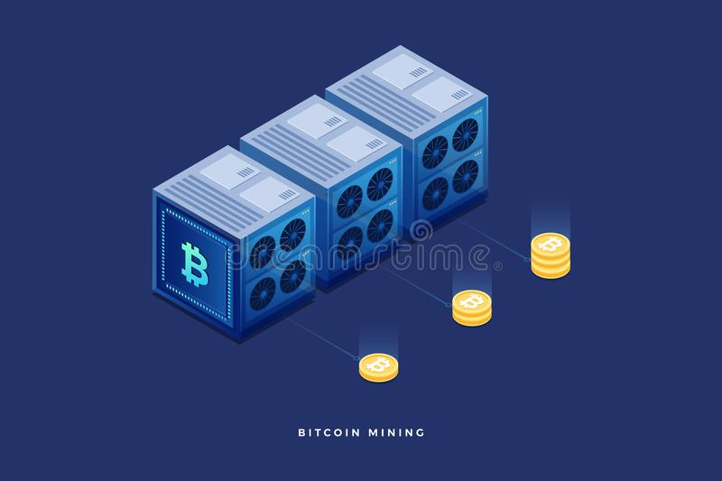 Digital currency or cryptocurrency mining farm. Creation of bitcoins. 3d isometric flat design. Vector illustration royalty free illustration