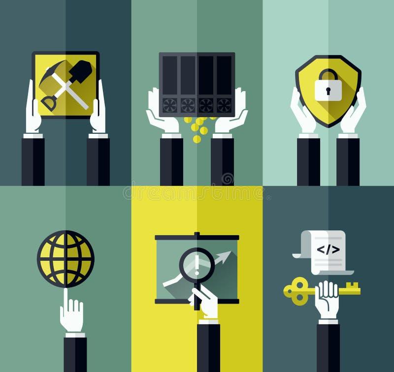 Digital currency modern flat vector design concept stock illustration