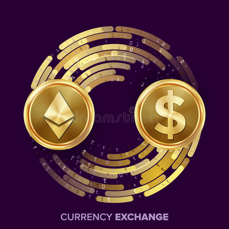 Digital Currency Money Exchange Vector. Ethereum Dollar. Fintech Blockchain. Gold Coins With Digital Stream. Cryptography. Conversion Commercial Operation stock illustration