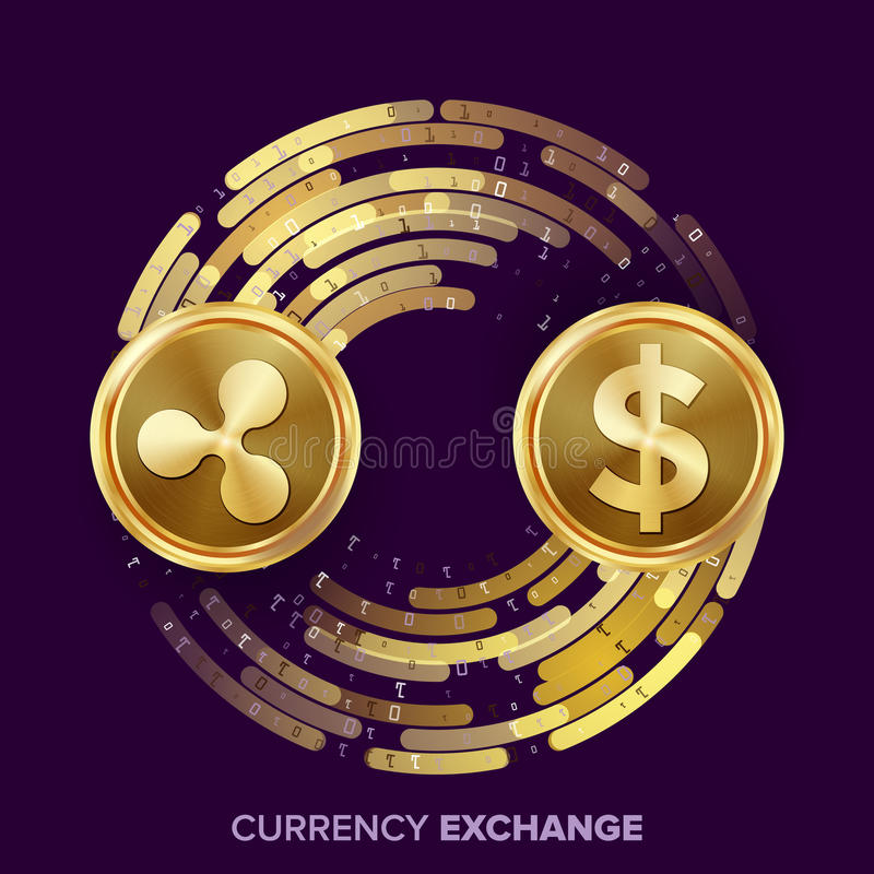 Digital Currency Money Exchange Vector. Ripple Coin, Dollar. Fintech Blockchain. Gold Coins With Digital Stream. Cryptography. Conversion Operation. Business vector illustration