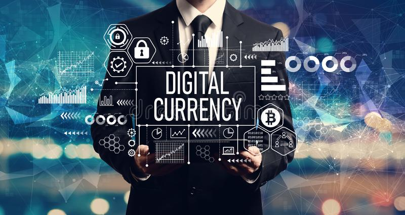 Digital currency theme with businessman holding a tablet royalty free stock photos