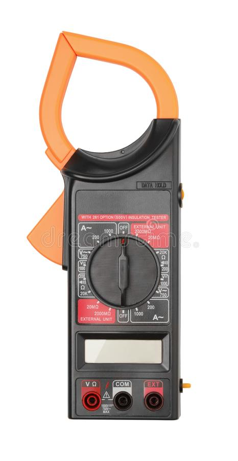 Digital current clamp multimeter isolated on white royalty free stock photography