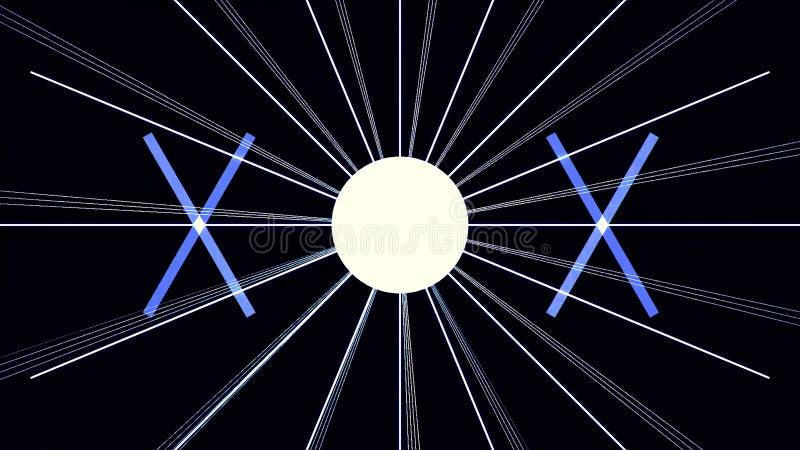 Digital-Cyber-Stadt-Partikel HUD Background mit Linien Muster mit Würfeln und Blitzlicht Retro- Hintergrund des Futurismus-80s lizenzfreie abbildung