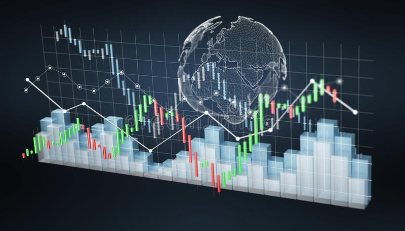 Digital 3D rendered stock exchange stats and charts. On black background vector illustration
