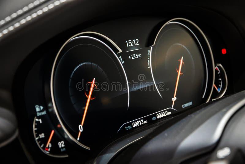 Digital dashboard bmw 7 series car stock photos