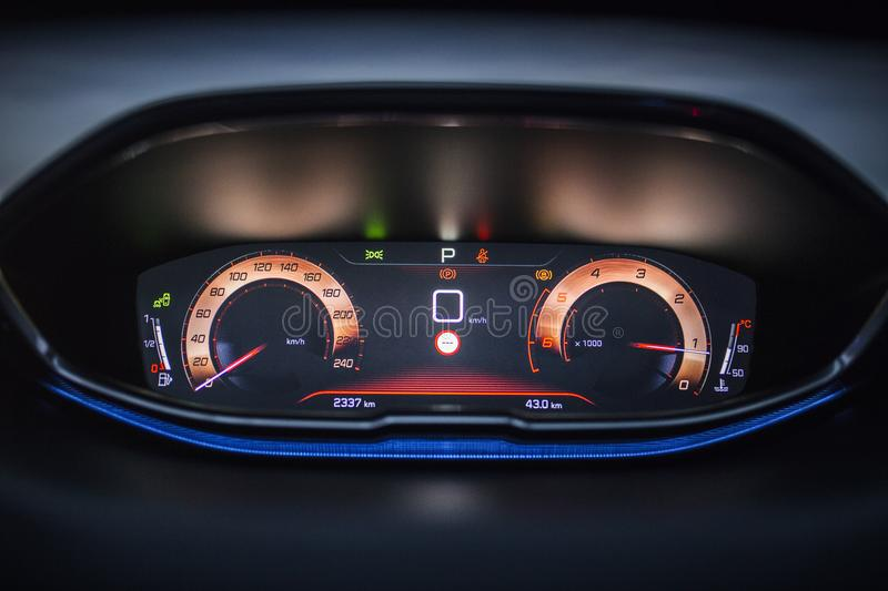 Car Interior: Digital Instrument Panel with Dashboard Display. A Digital dashboard with digital instrument design. A digital TFT dial display with colourful royalty free stock photography