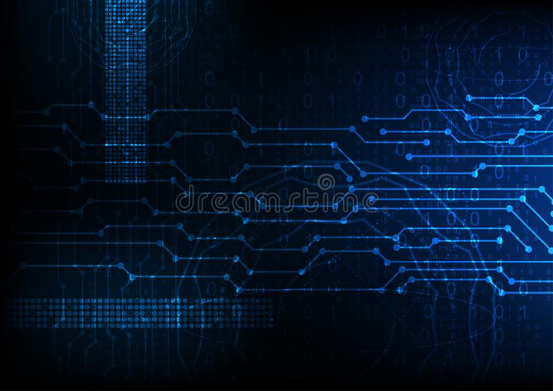 Vector blue future abstract technology background, digital data encryption royalty free illustration