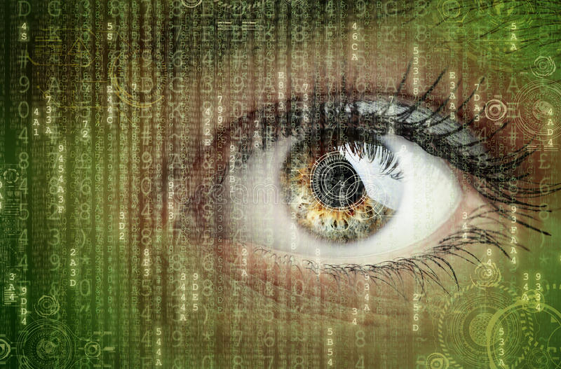 Digital data and eye royalty free stock images