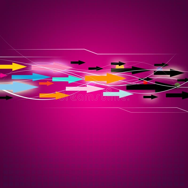 Digital Data Flow. A flow of arrows on a digital magenta background royalty free illustration