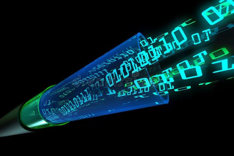 Digital data flow through optical wire stock illustration