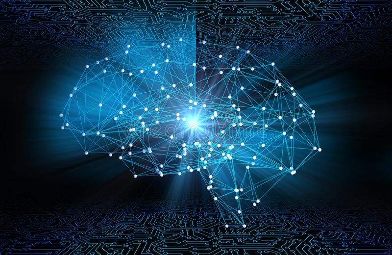 Digital data and network connection of human brain with flare li stock illustration