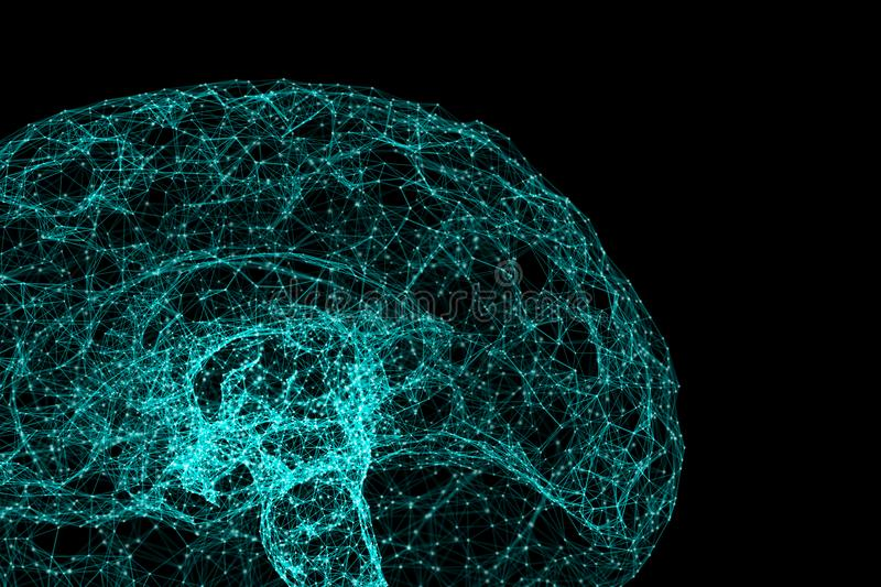 Digital data and network connection of human brain isolated on black background in the form of artificial intelligence for. Technology and medical concept vector illustration