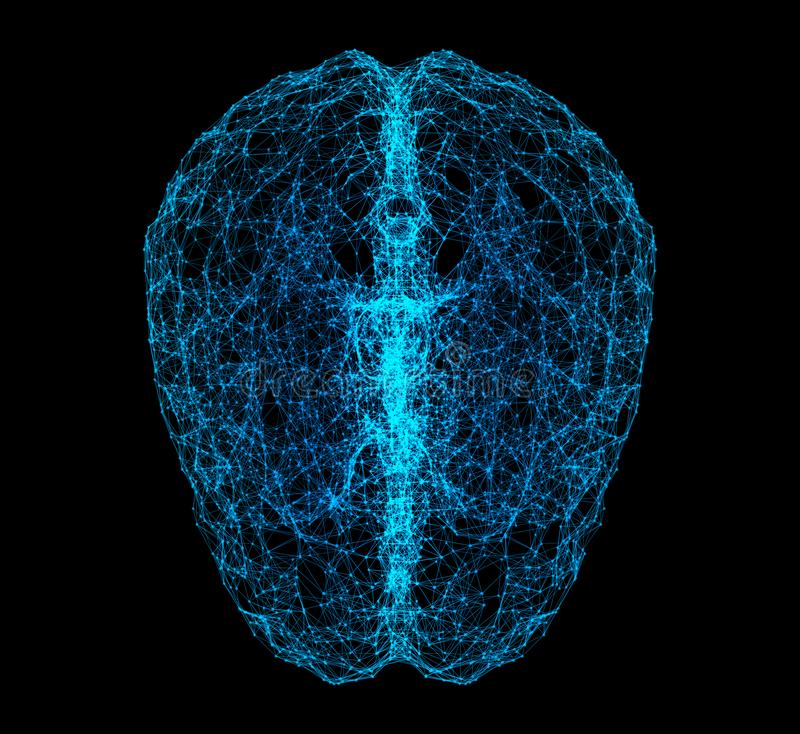 Digital data and network connection of human brain isolated on black background in the form of artificial intelligence for. Technology and medical concept royalty free illustration