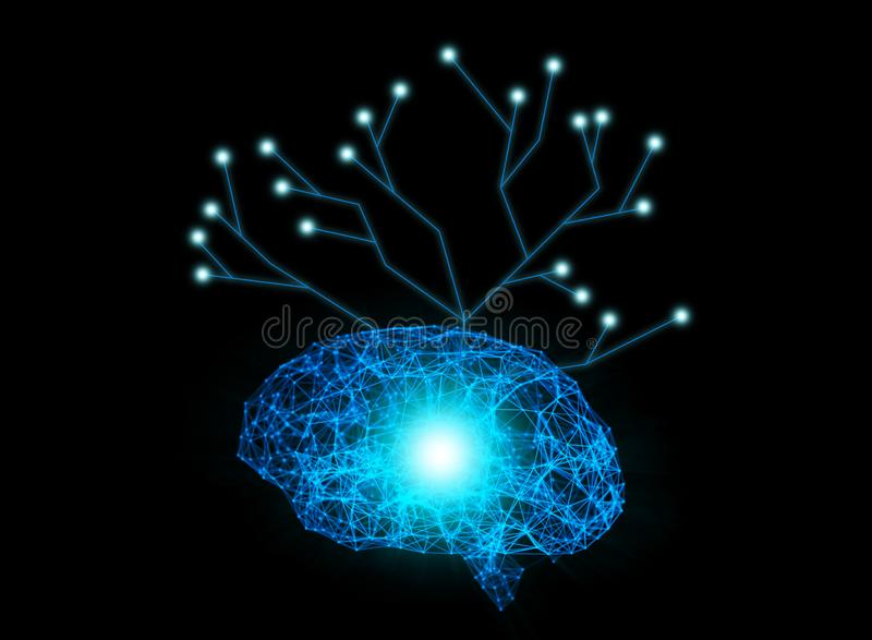 Digital data and network connection of human brain with tree structure isolated on black background in the form of artificial int. Elligence for technology royalty free illustration