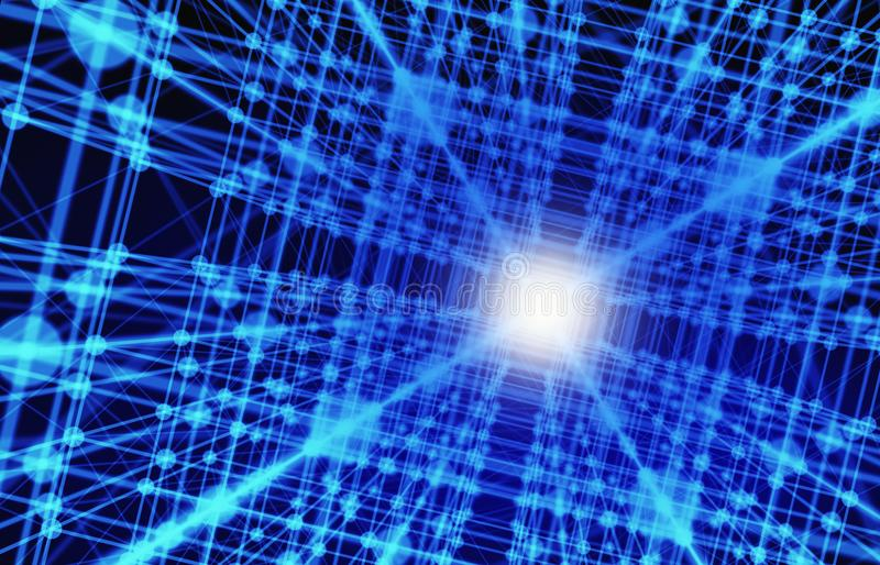 Digital data and network connection triangle lines and spheres i. N technology concept on blue background, 3d abstract illustration stock illustration