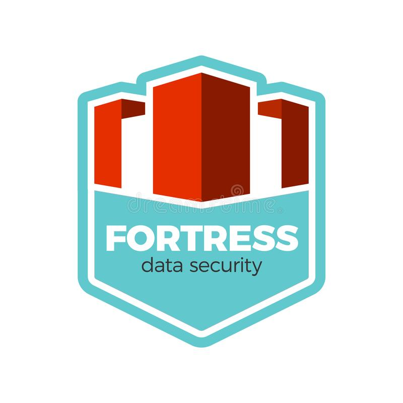 Fortress logo concept. Digital data security logo design template. Fortress or castle silhouette framed by shield. Secure identity protection concept, privacy vector illustration