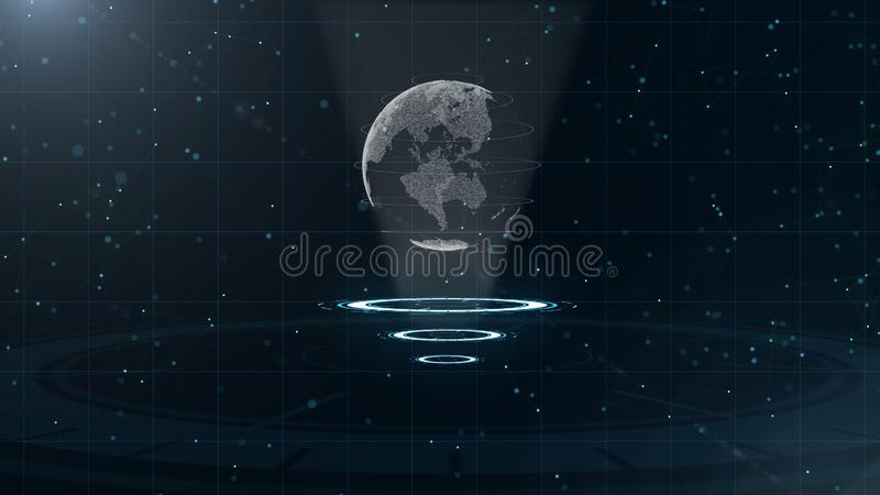 Digital-Datenkugel - abstrakte Illustration einer wissenschaftlichen Technologie Datennetz Umgebende Planetenerde auf drei stock abbildung